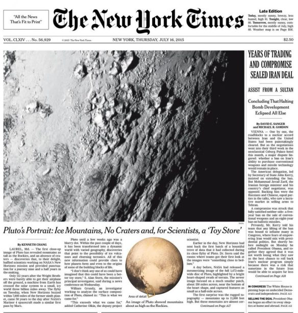 New York Times - Pluto Cover Story